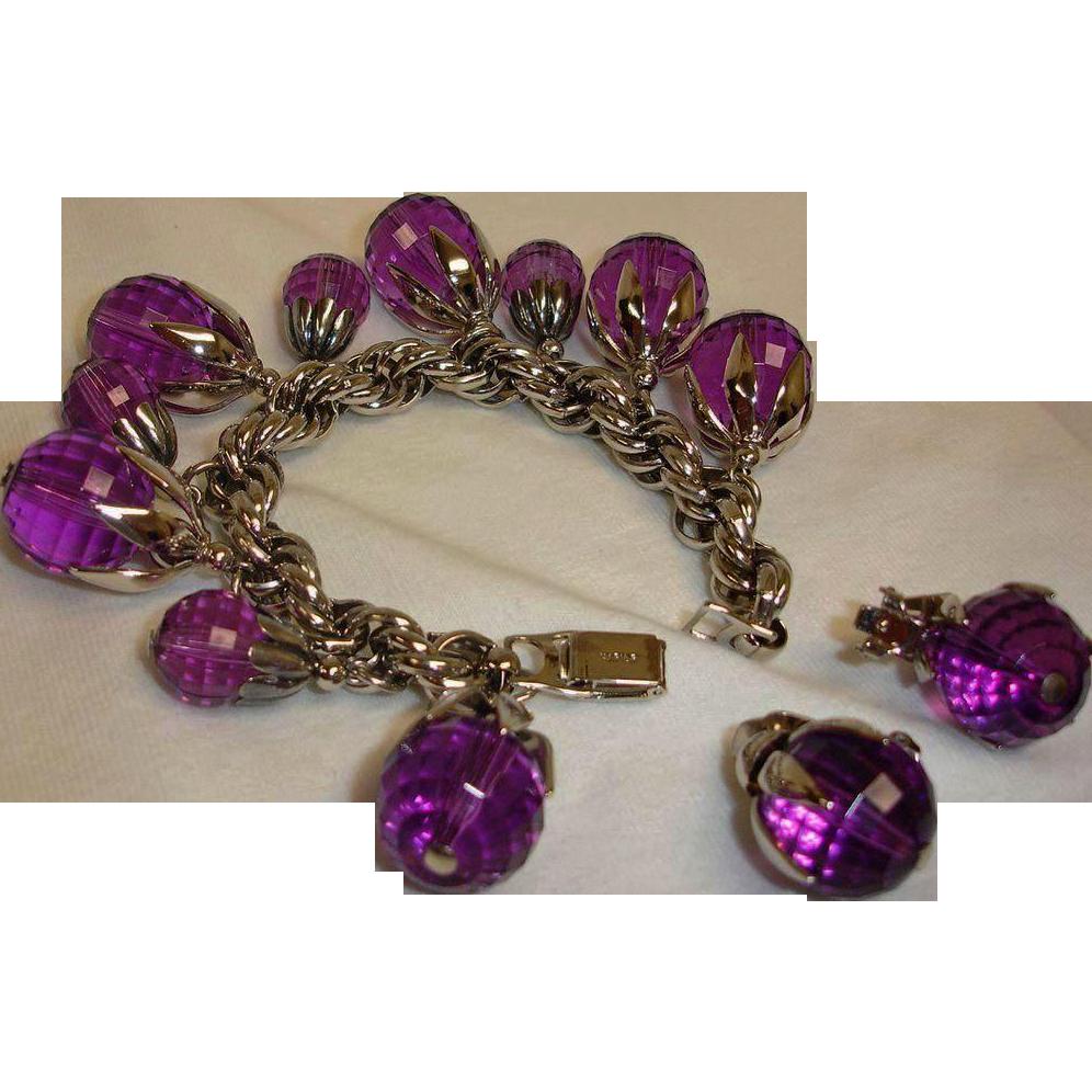 Estate NAPIER Charm Bracelet and Earrings Demi Parure - Vintage Purple Napier Jewelry