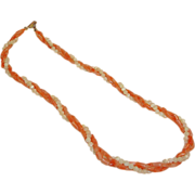 Signed HOBE Coral and White Necklace - Beaded Torsade - Vintage Hobe Jewelry