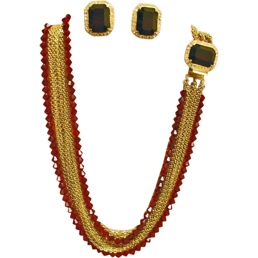 Vintage HOBE Ruby Red Crystal & Rhinestone Necklace and Earring Set - Hobe Demi Parure Jewelry