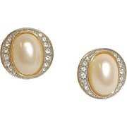 Faux Pearl and Rhinestone Earrings - Vintage PIERCED Earrings