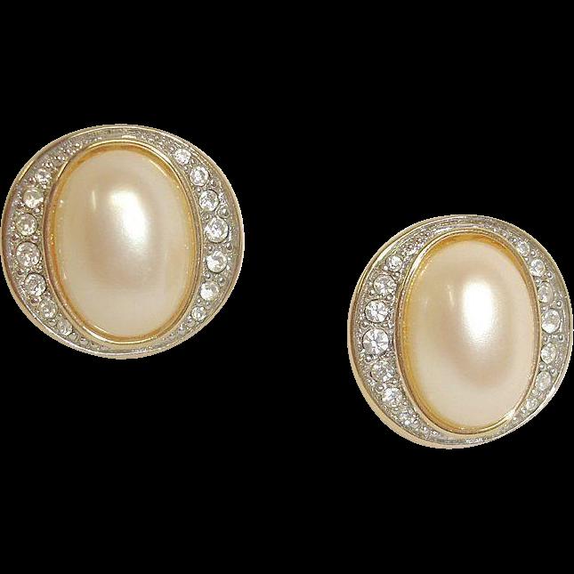 Faux Pearl and Rhinestone Earrings - Vintage PIERCED Earrings