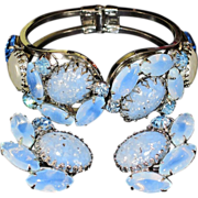 DeLizza & Elster or Juliana Jewelry - Vintage Clamper Hinged Bracelet & Earrings Demi Parure