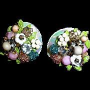 Vintage MIRIAM HASKELL Floral Cluster Earrings - Vintage Miriam Haskell Jewelry