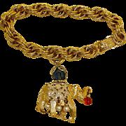 NAPIER Elephant Charm Bracelet - Vintage Napier Jewelry