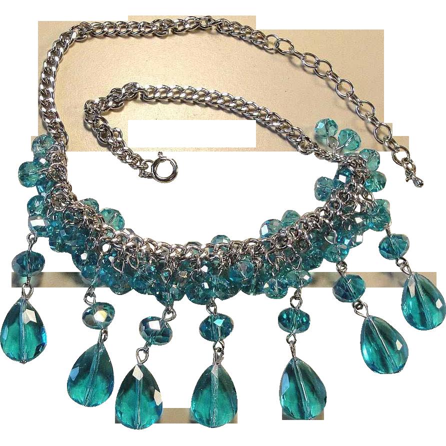 Vintage 70's Blue Glass Crystal Bead Drop Bib Cluster Necklace