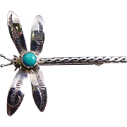 Large Sterling Silver and Turquoise Dragonfly Pin Brooch - Vintage Estate Turquoise Brooch