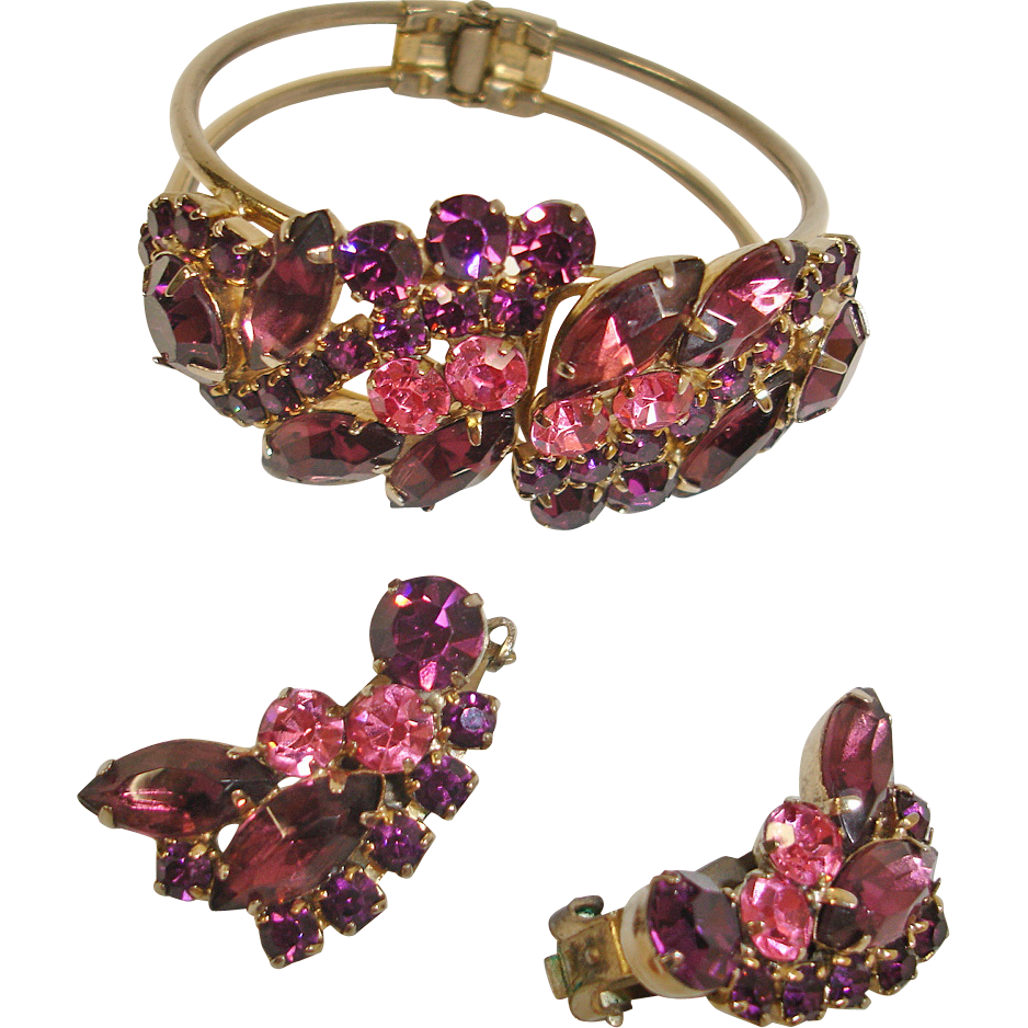 Rhinestone Clamper Hinged Bracelet & Earrings Set - Vintage Pink & Purple Rhinestone Demi Parure Jewelry