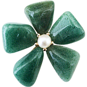 Vintage Green Aventurine Quartz Crystal & Pearl Flower Brooch Pin