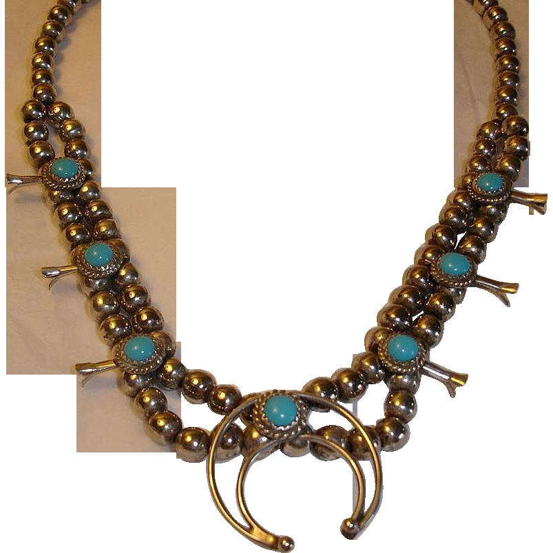 small squash blossom necklace vintage native american