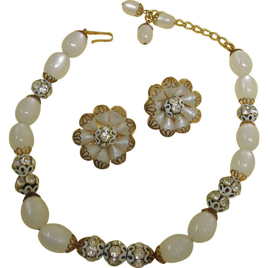 Vintage Hobe Necklace and Earrings Set – Hobe Demi Parure Jewelry - Johnston's House of Gifts Original BOX