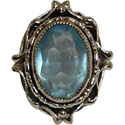Whiting and Davis Blue Crystal and Silver Plated Ring - Estate Jewelry