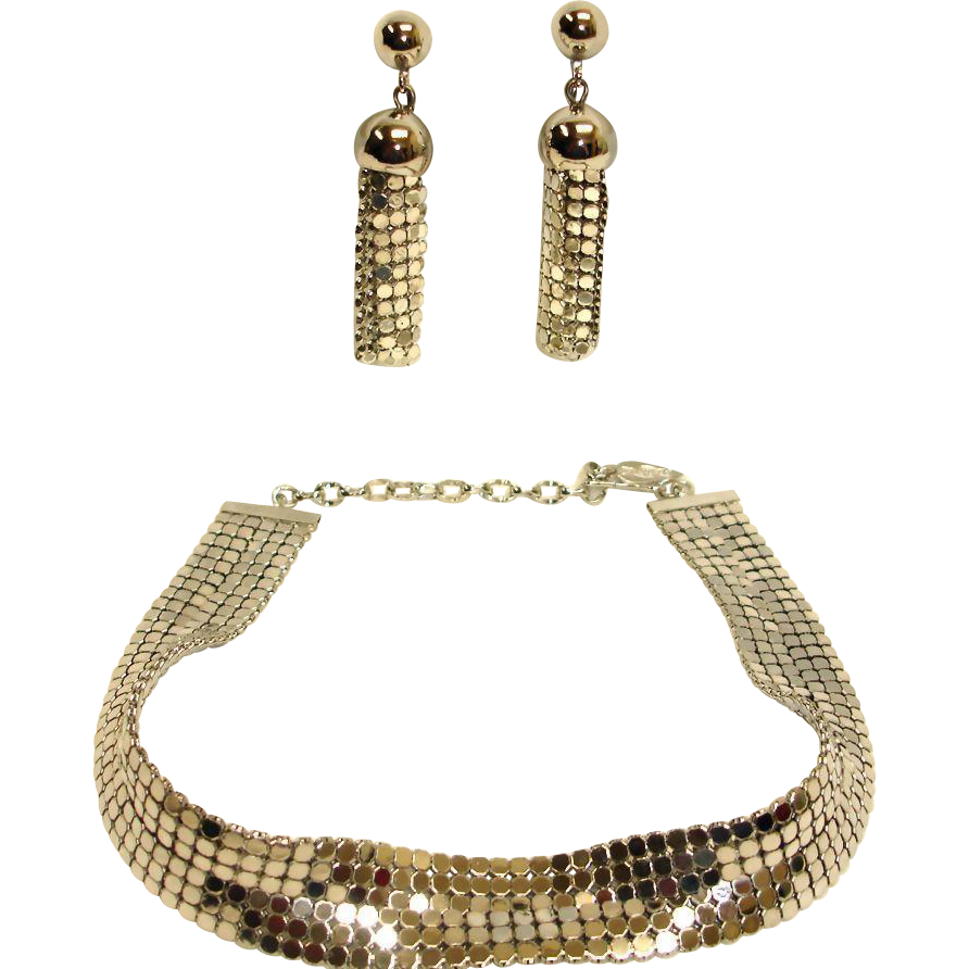 WHITING and DAVIS Mesh Demi Parure - Silver Necklace and Earrings Set - Vintage Whiting and Davis Mesh Jewelry
