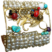 MASSIVE Retro Cuff Bracelet -Dangling Gems and Faux Pearls