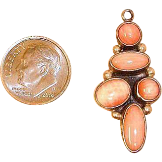 Vintage Signed NAKAI Sterling and Pink Spiny Oyster Shell Pendant - Native American Pendant
