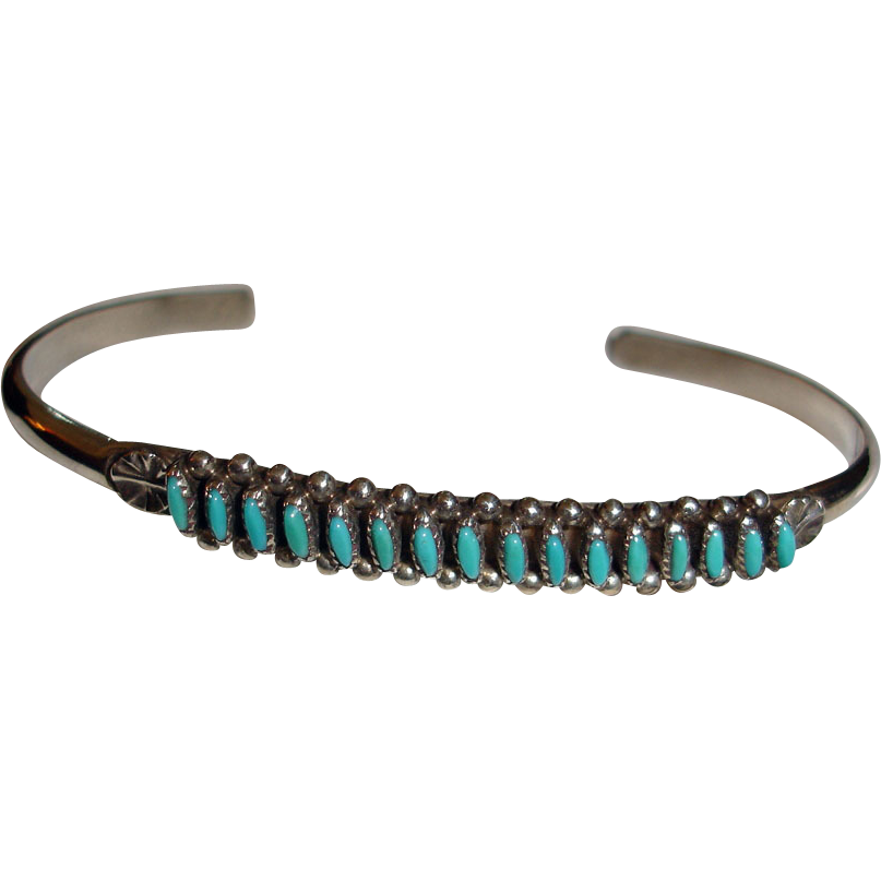 Vintage Zuni Turquoise Pe Point Bracelet Small Native American Sold Ruby Lane