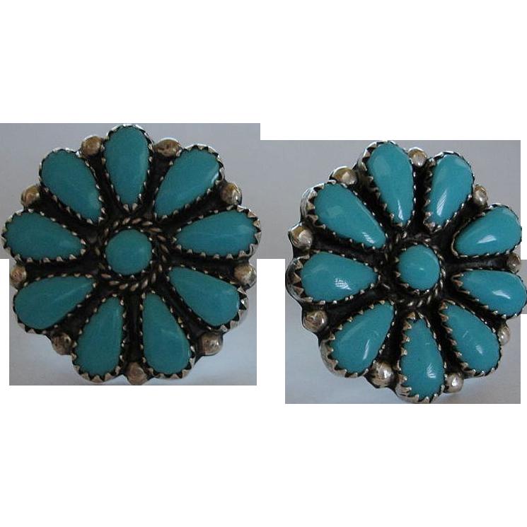 Sale !! Vintage Sterling Silver Petit Point Turquoise Cluster Earrings  - Vintage Screw Back Earrings