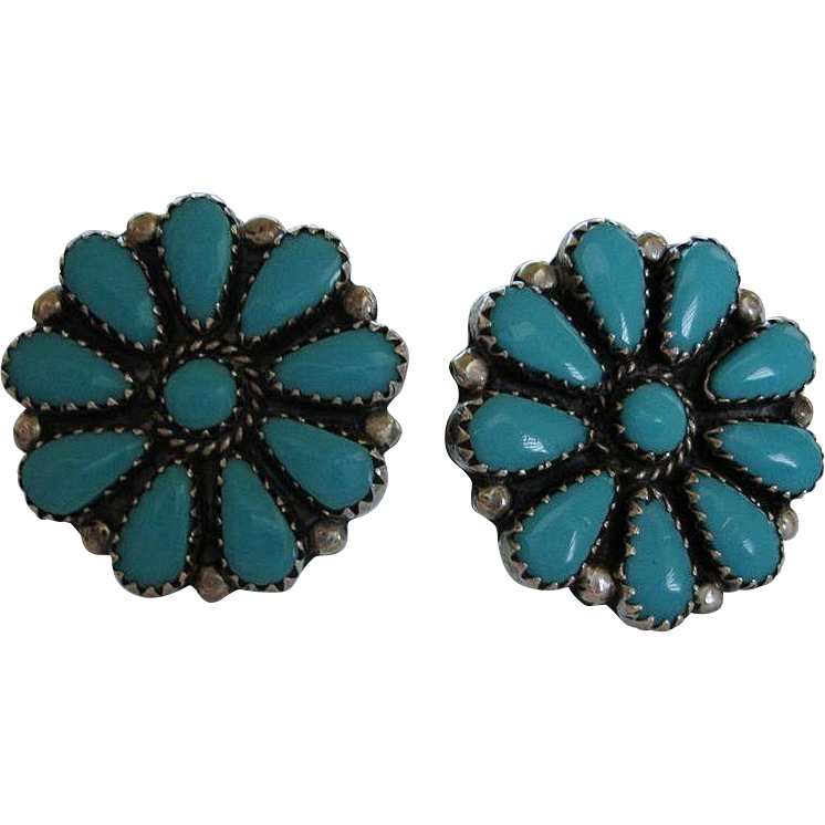 Vintage Sterling Silver ZUNI Turquoise Cluster Earrings - Vintage Screw Back Earrings