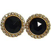 Faceted Jet Black Glass  and Rhinestone Earrings - Vintage Pierced Earrings