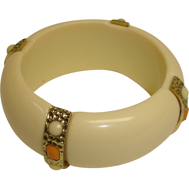 Lucite Bangle Bracelet - Vintage Bangle Bracelet with Faux Stones