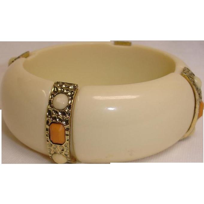 Chunky Lucite Bangle Bracelet - Vintage Bangle Bracelet with Faux Stones