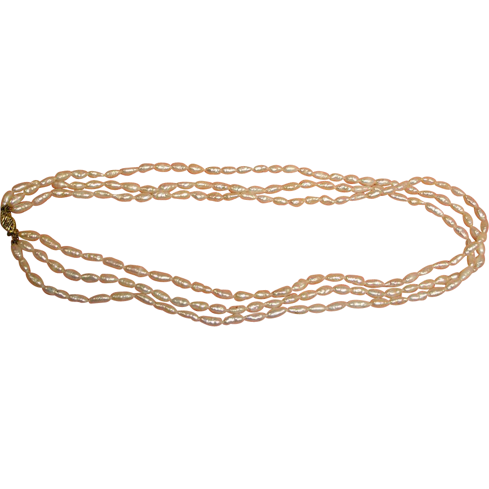 "Vintage 14K Gold 3 Strand Freshwater Pearl Necklace - 8.6 mm - 16 3/8"" Long"