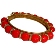 Vintage Miriam Haskell Hinged Bangle Bracelet - Circled with Cherry Red Beads