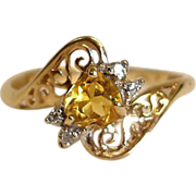 14K Gold Citrine and Diamond Filigree Ring - Size 6-3/4 US - Vintage Heart Shaped Gem Ring