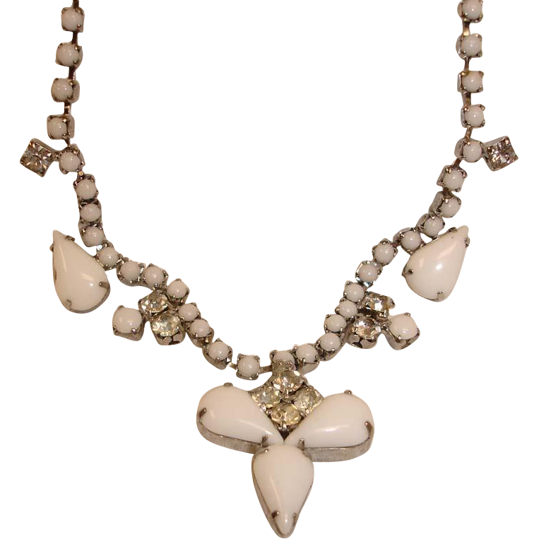 Vintage Milk Glass Cabochons and Rhinestone Necklace