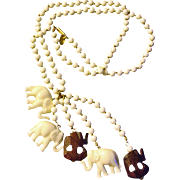 MIRIAM HASKELL Lucky Elephant Necklace - Vintage Miriam Haskell Jewelry