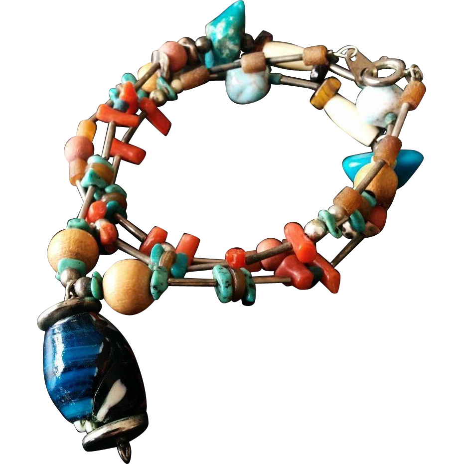 Boho Chic Necklace Turquoise Coral and Lapis Blue with Tiny Sterling Beads