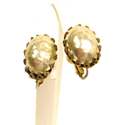 Vintage Miriam Haskell Baroque Glass Pearl Earrings -  Faux Baroque Mabe Pearl Jewelry