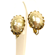 Miriam Haskell Baroque Glass Pearl Earrings - Vintage Faux Baroque Mabe Pearl Jewelry