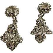 HATTIE CARNEGIE Earrings - VINTAGE Sparkling Rhinestone Drop Dangle Earrings - Christmas Bells