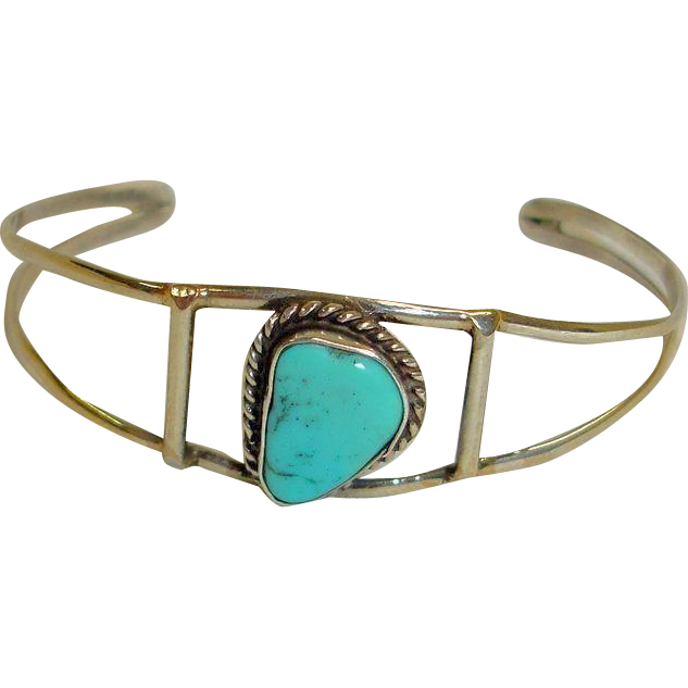 Southwestern Silver and Turquoise Small Cuff Bracelet - Vintage Southwest Jewelry