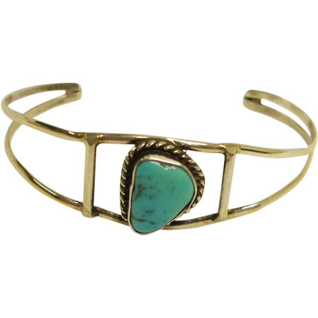 Southwestern Silver and Turquoise Small Cuff Bracelet - Vinatge Southwest Jewelry