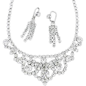 Art Deco Style Choker Necklace and Earrings Set  - 1950's Vintage Prong Set Rhinestone Demi Parure