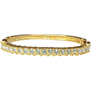 SWAROVSKI Crystal Rhinestone Gold Plated Bracelet - Vintage Bangle Clamper Bracelet - Swan Mark