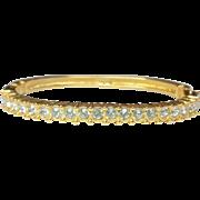 SWAROVSKI Crystal Rhinestone Gold Plated Bracelet - Vintage Bangle Clamper Bracelet - Swan Mark