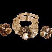 Estate Bracelet and Earrings Set - Vintage DESIGNER Demi Parure Jewelry - Crystal and Rhinestone
