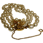 Miriam HASKELL Multi Strand Faux Baroque Pearl Bracelet with Safety Chain – Vintage Miriam Haskell Jewelry
