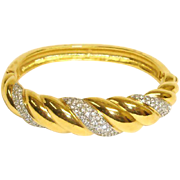 SWAROVSKI Crystal Rhinestone Bracelet - Gold Plated Hinged Bangle Clamper Bracelet - Early Swan Logo SWAROVSKI Jewelry