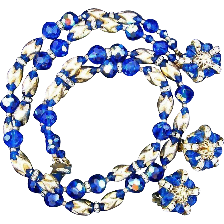 Vintage Unsigned EUGENE Demi parure - Gold Tone Cobalt Blue Glass Beads and Rhinestones  - Necklace and Earrings Set
