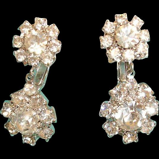 Vintage Sparkling Rhinestone Drop Dangle Earrings