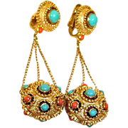 TRIFARI Jewels of India Jewelry - JEWELS of INDIA Dangle Drop Earrings - Vintage Trifari Jewelry