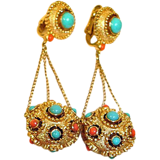 TRIFARI Jewels of India Jewelry - JEWELS of INDIA Dangle Drop Earrings - Vintage Trifari Jewelry