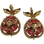 CORO Clip Rhinestone Earrings - Southern Peaches - Peach Earrings - Vintage Coro Rhinestone Jewelry