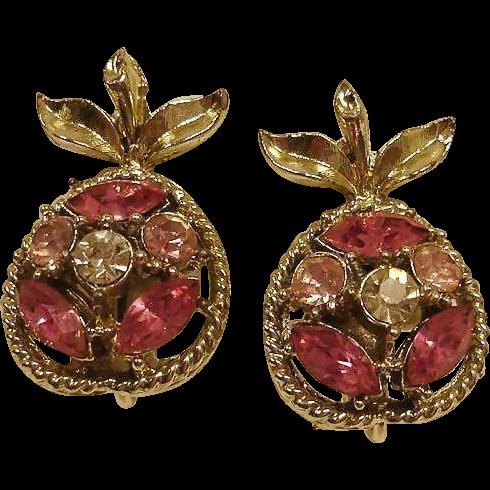CORO Clip Rhinestone Earrings - Southern Peaches - Peach Earrings - Vintage Coro Rhinestone Jewelry