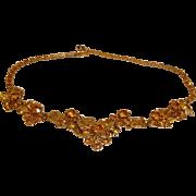 KRAMER Signed Necklace - Vintage Kramer Amber Rhinestone Jewelry