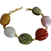 Vintage Polished Natural Stones Bracelet - Carnelian and Agates