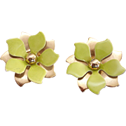 Gold Tone And Chartreuse Green-Yellow Clip Earrings - Vintage Clip On Earrings